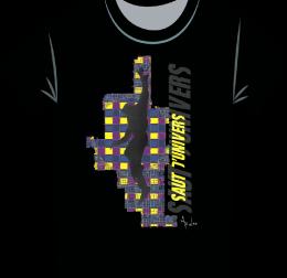 Saut d'univers sur tee-shirt Noir-WEB